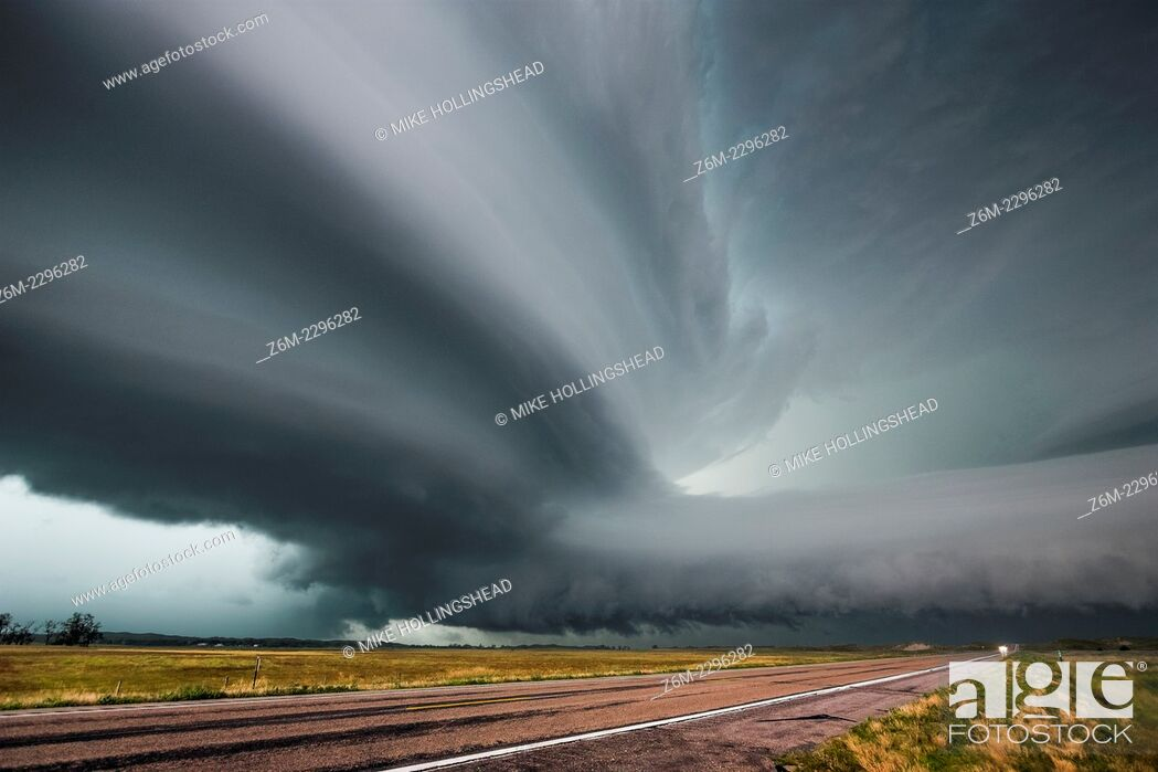 Stock Photo: Very intense high precipitation supercell storm moves south in the Nebraska Sand Hills south of Valentine, July 13, 2009.