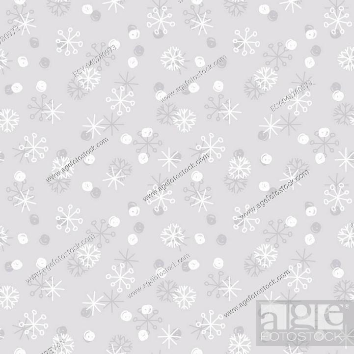 Stock Vector: Vector Seamless Winter Pattern Background with White and Grey Snowflakes on Silver Grey Background. Can be used for textile, parer, scrapbooking, wrapping.