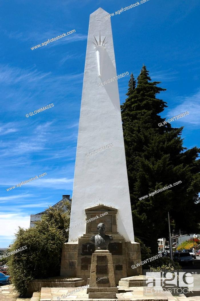 Stock Photo: Bust in front of a monument, San Carlos De Bariloche, Argentina.