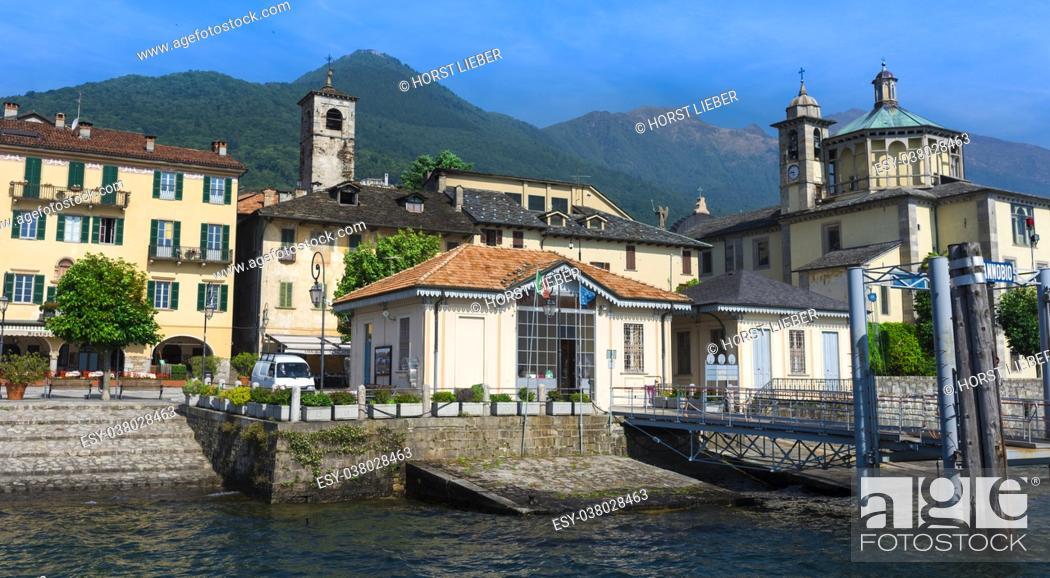 Stock Photo: View from the pier of Cannobio to the Santuario della Santissima Pietà at Lake Maggiore Maggiore - Lago Maggiore, Verbania, Piemont, Italy.