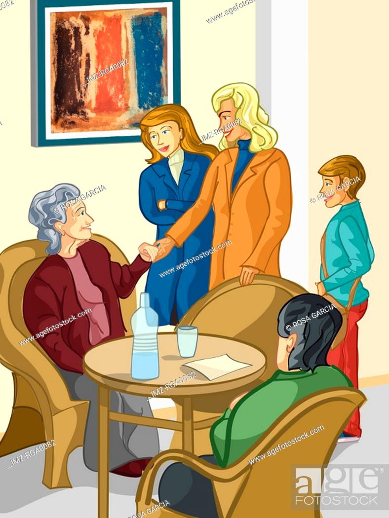 Stock Photo: A family visiting a relative in an elderly care facility.