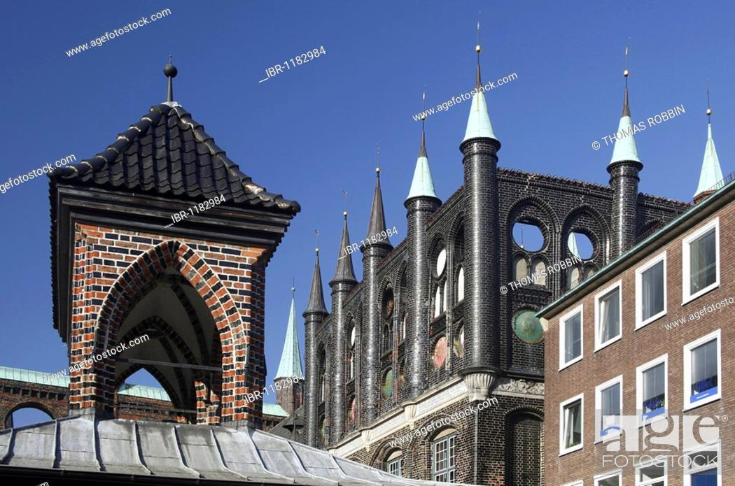 Stock Photo: Old market hall and town hall with decorated gables on the market square, Hanseatic City of Luebeck, Schleswig-Holstein, Germany, Europe.