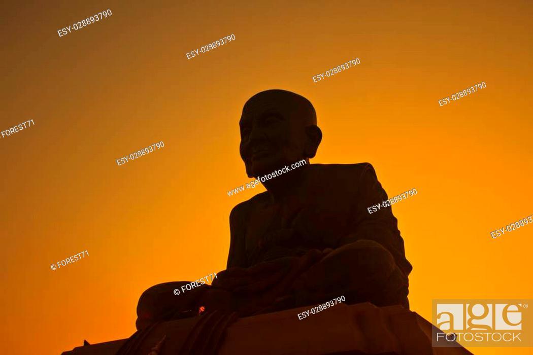 Stock Photo: silhouette Luang Pu Thuat statue in Samut Prakan province.
