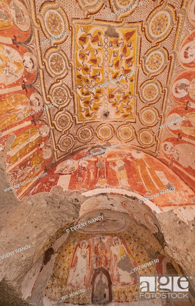 Stock Photo: Ornaments in GRapes church, Red Valley in Cappadocia.