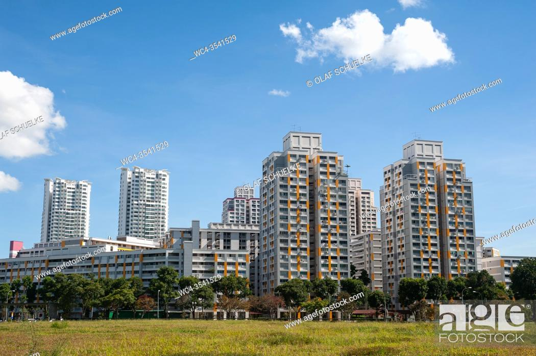 Stock Photo: Singapore, Republic of Singapore, Asia - View of typical HDB (Housing and Development Board) public housing apartment high-rise buildings from the 1980s in the.