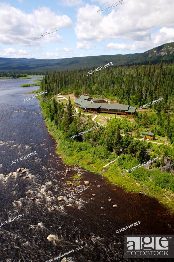 Stock Photo: Aerial view of Rifflin'Hitch Lodge, Eagle River, Southern Labrador, Newfoundland & Labrador, Canada.