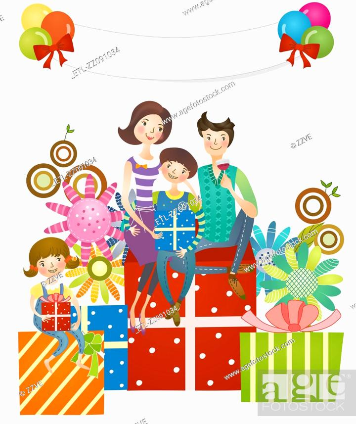 Stock Photo: Family sitting on gifts.