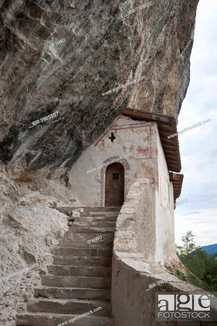 Stock Photo: Hermitage of San Paolo, built into the rock wall, Sarca Valley, near Arco, Trentino-Alto Adige, Italy.