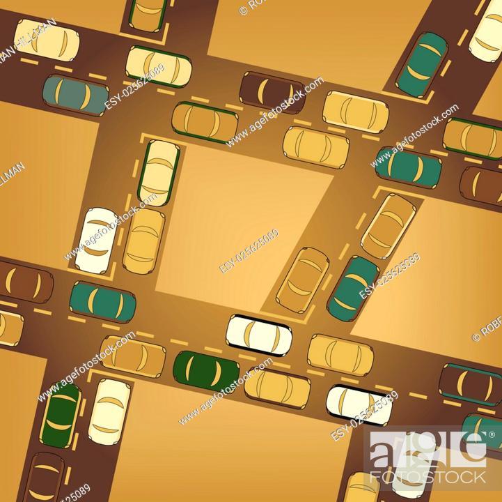 Stock Vector: Editable vector illustration of busy car traffic.