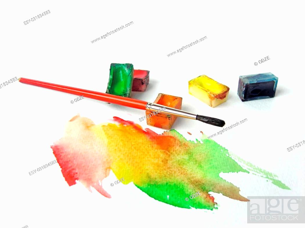 Photo de stock: Water colors and brush.