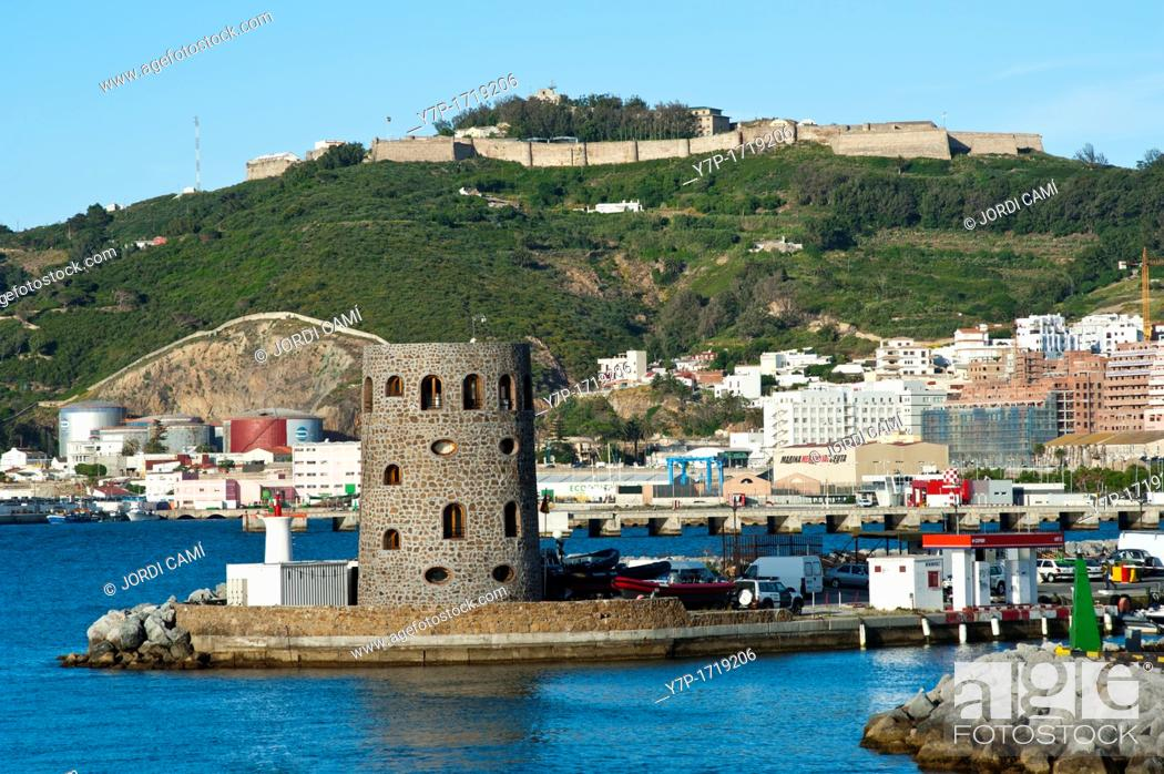 Stock Photo: Marina entrance and Monte Hacho and fortress in background Ceuta  Spain.