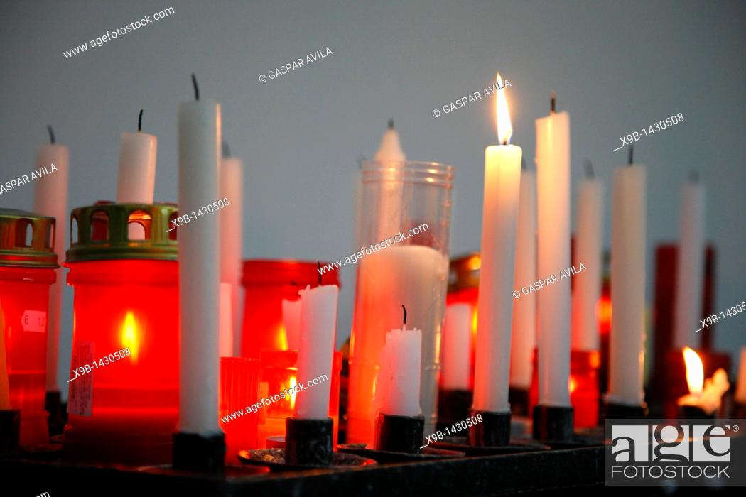 Stock Photo: Votive wax candles.