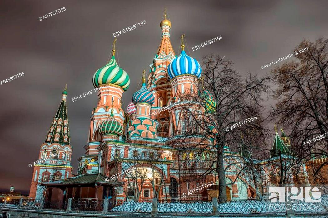 Stock Photo: Moscow, Russia, Red square, view of St. Basil's Cathedral.