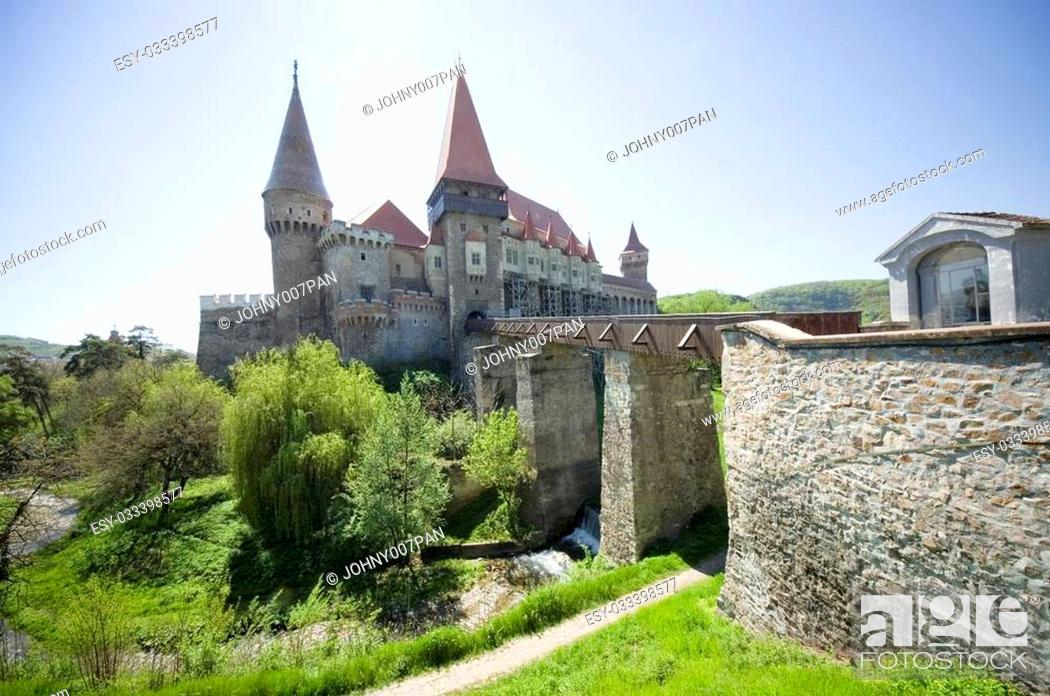 Stock Photo: Hunedoara Corvin castle, Transylvania, Romania.