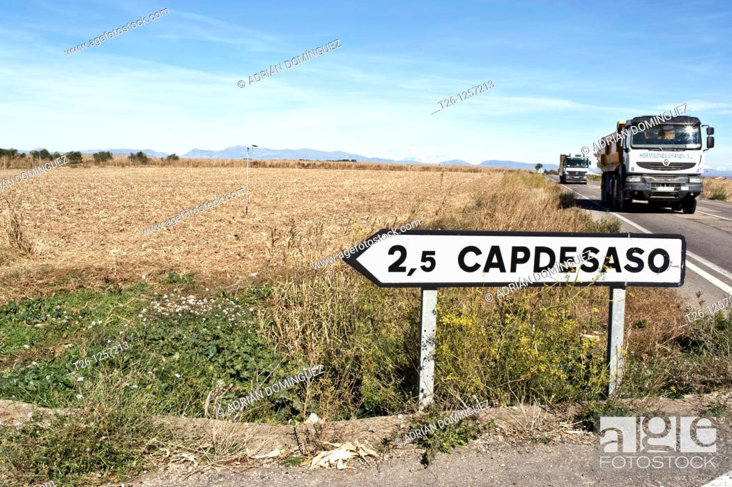Stock Photo: Signal on the road of the desert of Monegros in Spain.