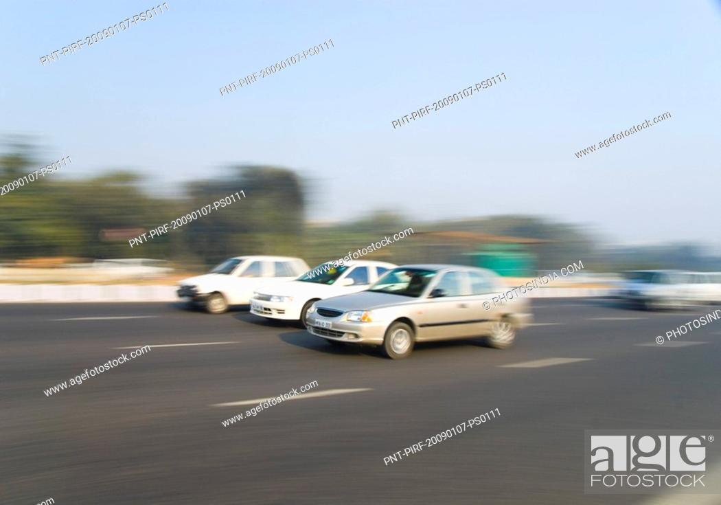 Stock Photo: Cars on the road, Gurgaon, Haryana, India.