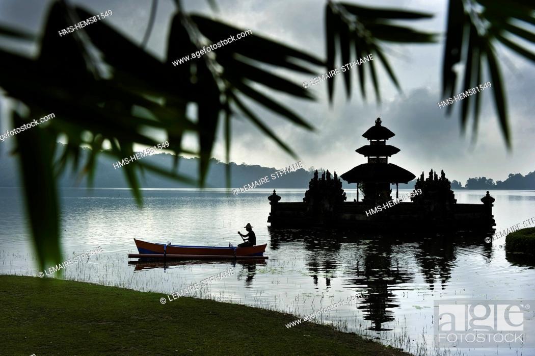 Stock Photo: Indonesia, Bali Island, Bedugul village, Ulun Danu temple on Lake Bratan.
