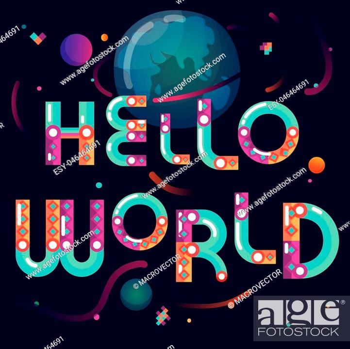 Stock Vector: Latin alphabet cartoon constructor astronomical world poster with earth globe planets on black background abstract vector illustration.