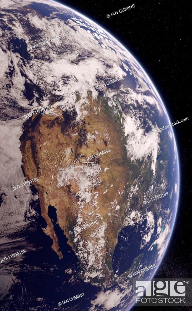Stock Photo: Digitally manipulated image of Western North America from space.