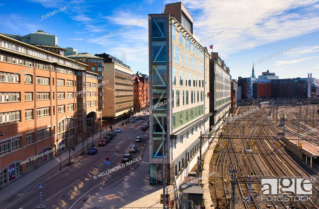 Stock Photo: Flatiron building which stands between Torsgatan and Stockholm's main railway station, Norrmalm, Stockholm, Sweden The wedge shaped building named after the.