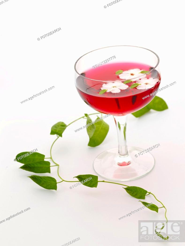 Stock Photo: cuisine, beverage, food, petal, drink, alcoholic liquor, cocktail glass.