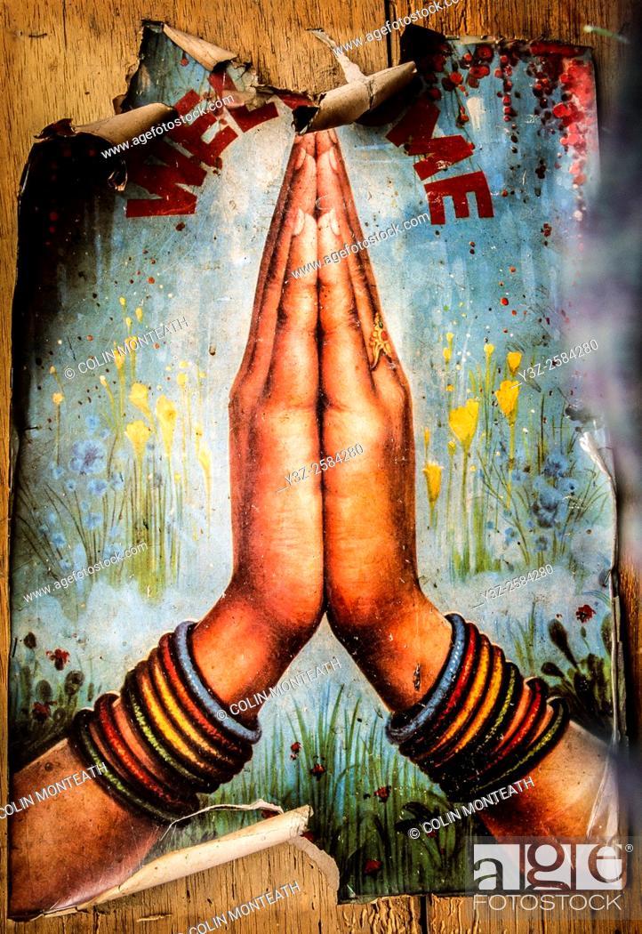 Imagen: Namaste poster, welcome to Nepal, Larjung, Annapurna, Nepal Himalaya.