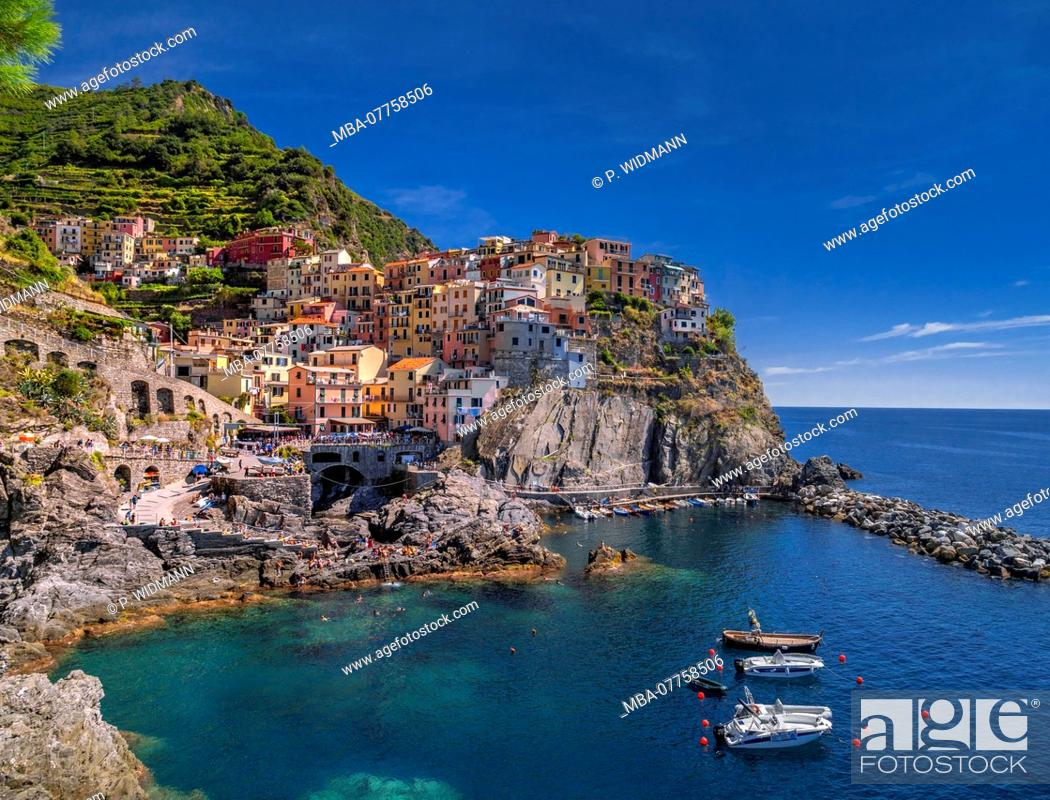 Stock Photo: View of harbour and colourful houses, Manarola, Cinque Terre, La Spezia, Liguria, Italy, Europe.