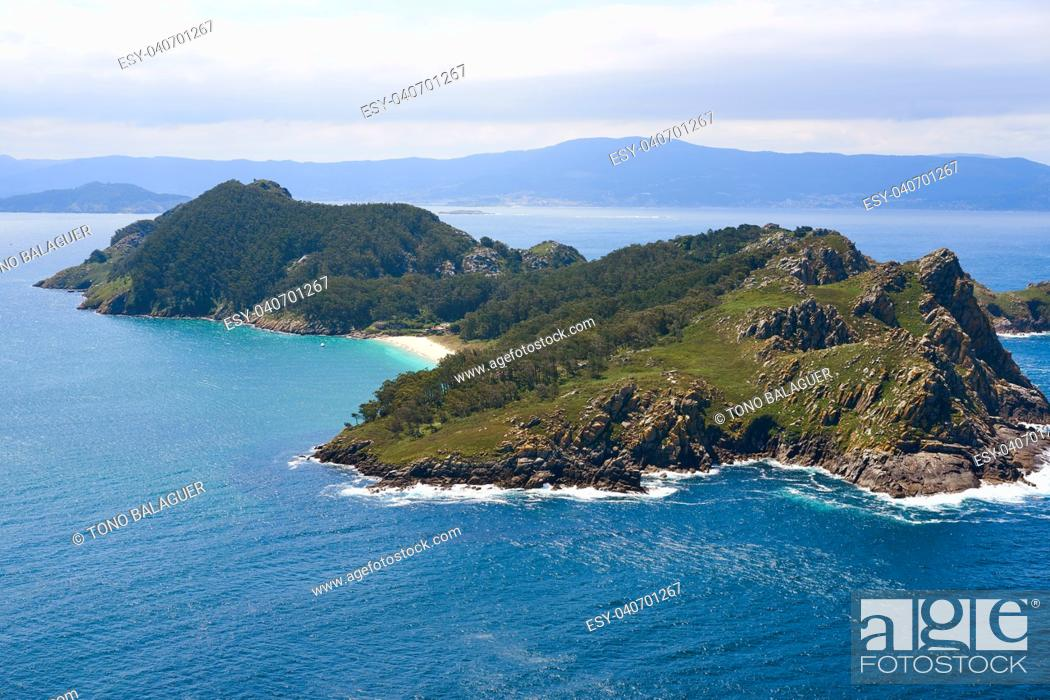 Stock Photo: Islas Cies islands San Martino island in Vigo of Galicia Spain.