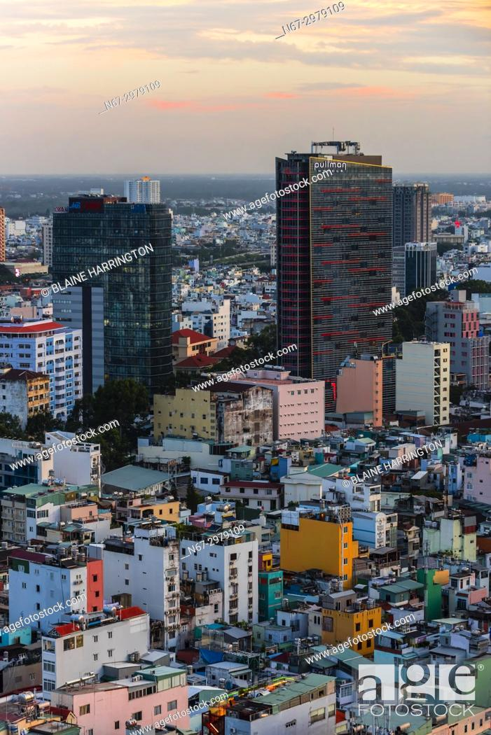 Stock Photo: Overview of the skyline, Ho Chi Minh City (Saigon), the largest city in Vietnam.