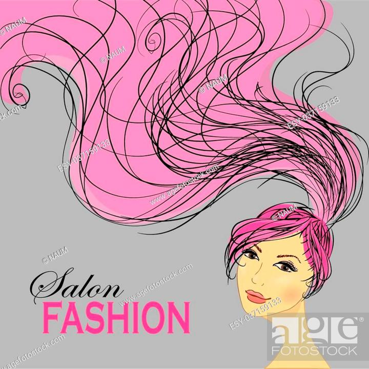 Fashion Woman With Long Hair Vector Illustration Stylish Design For Beauty Salon Flyer Or Banner Stock Vector Vector And Low Budget Royalty Free Image Pic Esy 037159133 Agefotostock