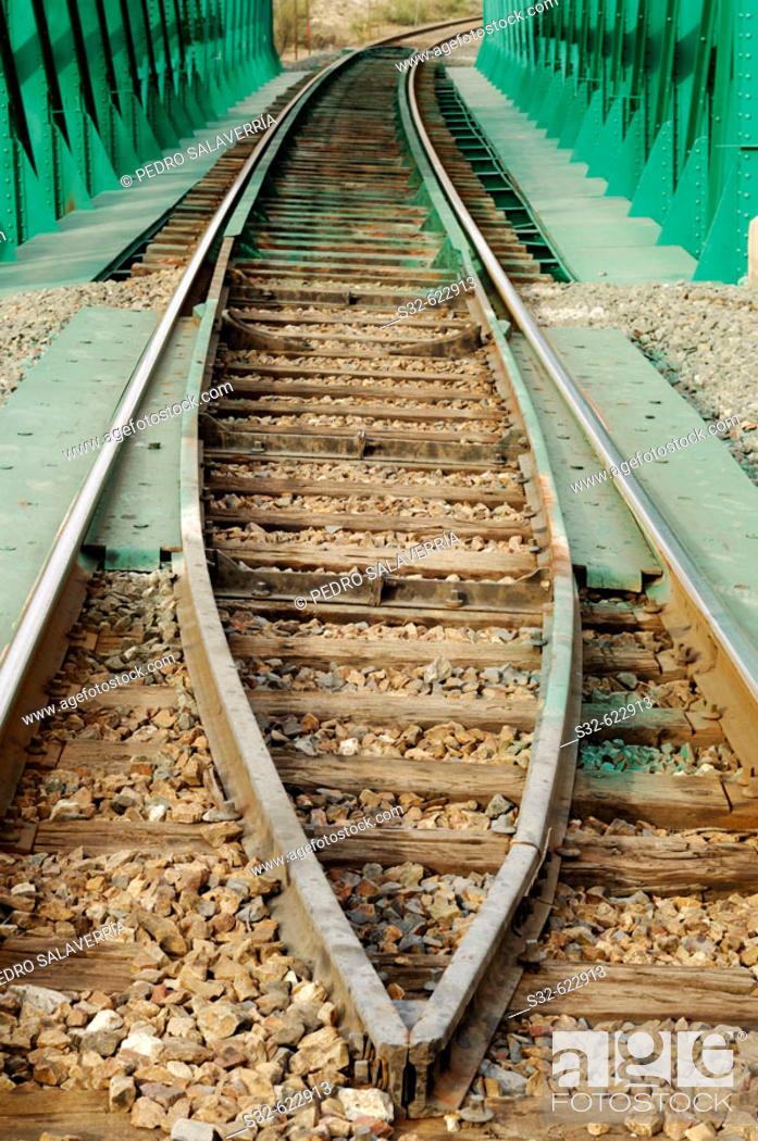 Stock Photo: Railway tracks. Morata de Jalón. Valdejalón. Zaragoza. Aragón. Spain.