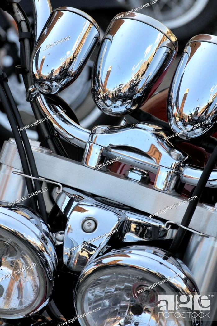 Stock Photo: Harley Davidson motorcycle detail.