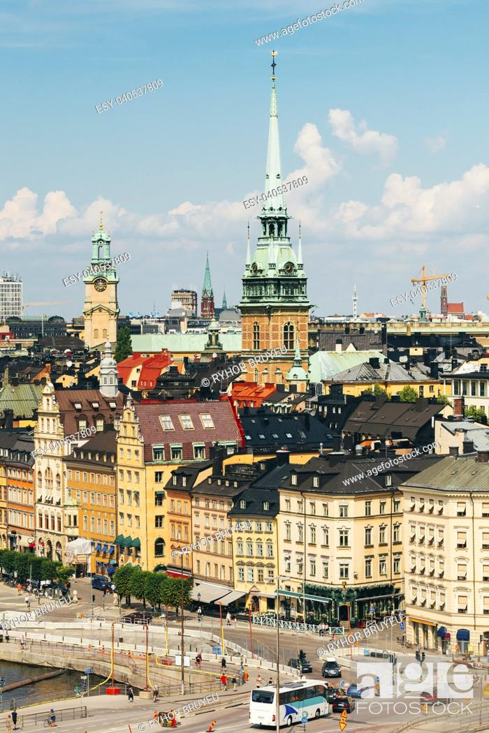 Stock Photo: Stockholm, Sweden. The Scenic Top View Of Historical Center With Tall Steeple Of The German Church Or St. Gertrude's Church In Gamla Stan.