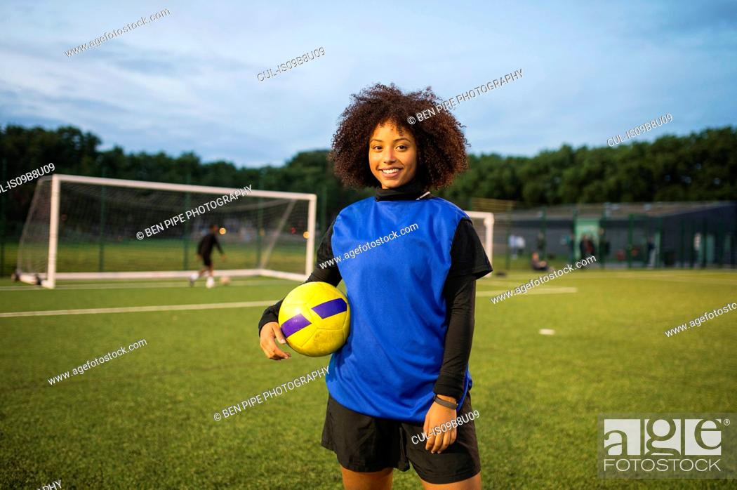 Stock Photo: Female football player, Hackney, East London, UK.