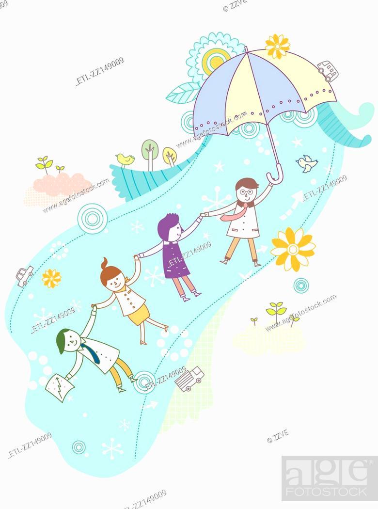 Stock Photo: Umbrellas and people.