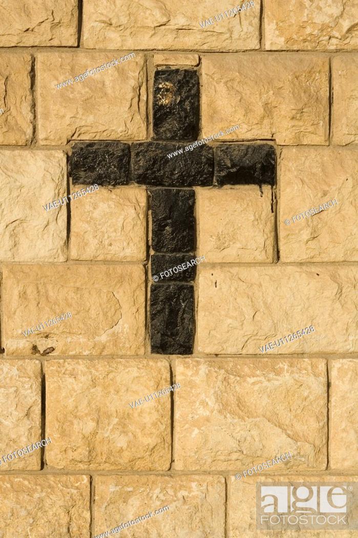 Stock Photo: Black, Brick Wall, Close-Up, Cross Shape, Crucifix.