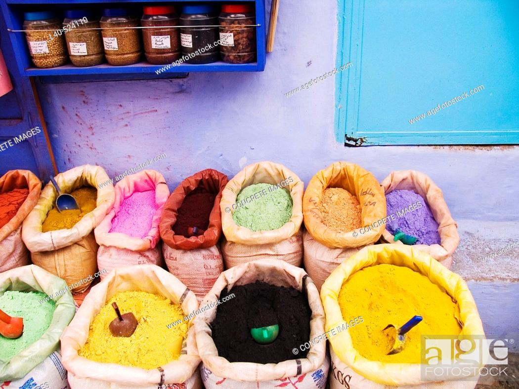 Stock Photo: Dyes in a shop, Chefchaouen. Morocco.