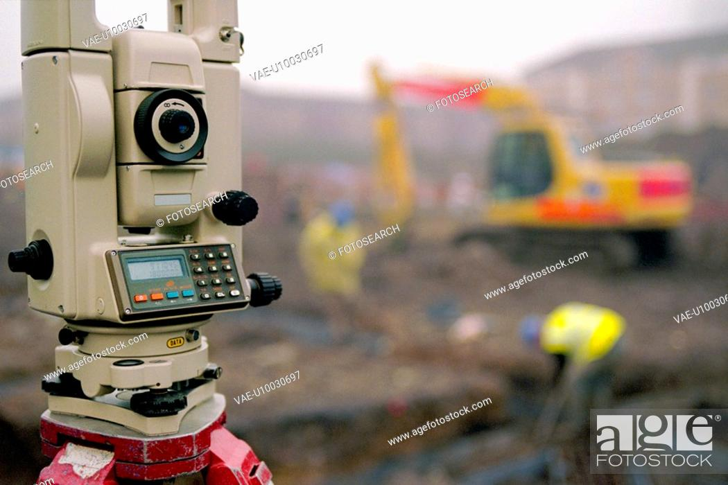 Stock Photo: Detail of Total Station on site.