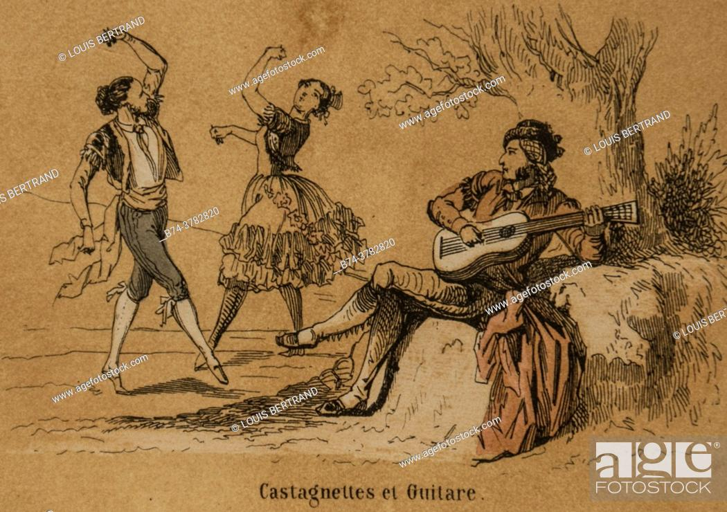 Stock Photo: musical instruments, popular imagery for school education, publisher ernest meyer 1900.