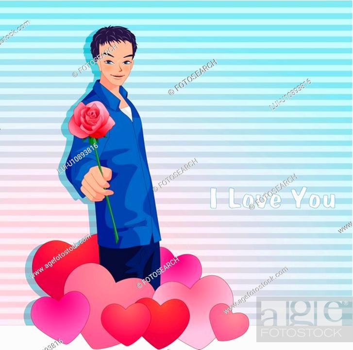 Stock Photo: heart, event, lover, rose, boy, imagediary.