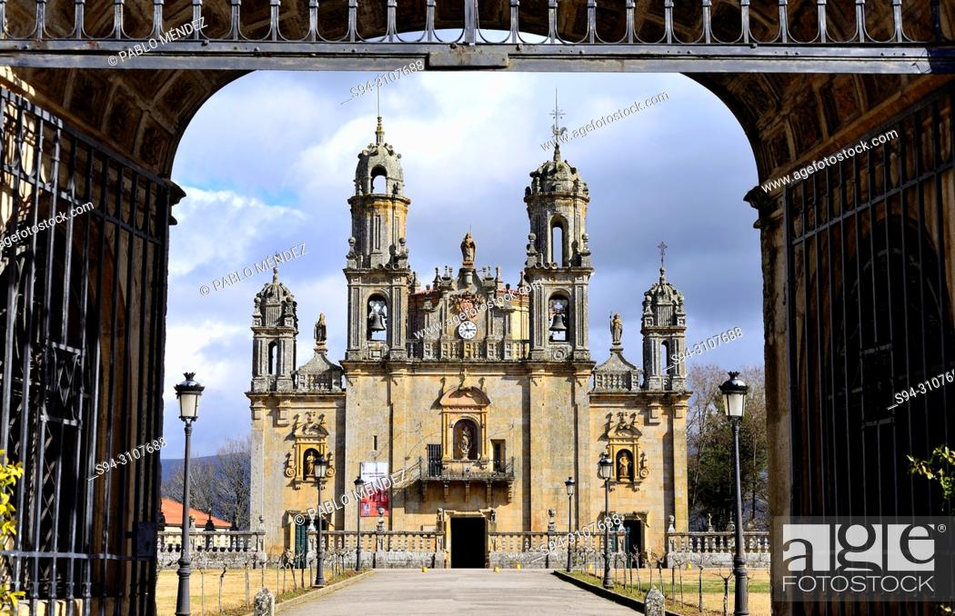 Stock Photo: Basilica of Our Lady of Os Milagros, between Baños de Molgas and Maceda, Orense province, Spain.