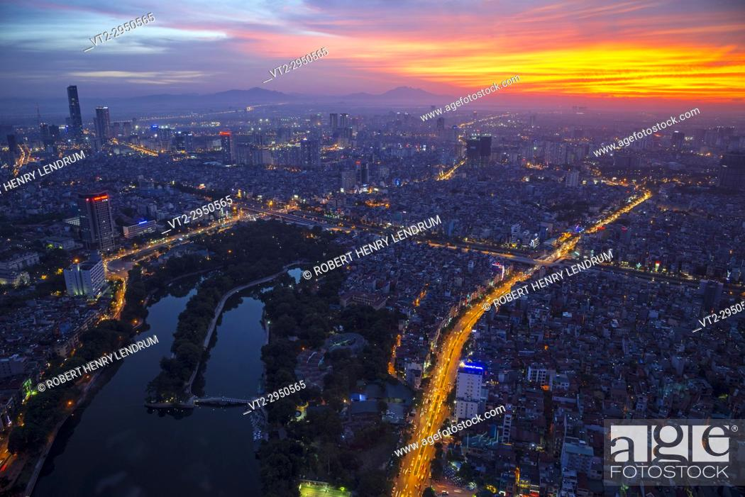 Stock Photo: Aerial view of central Hanoi city, Vietnam.