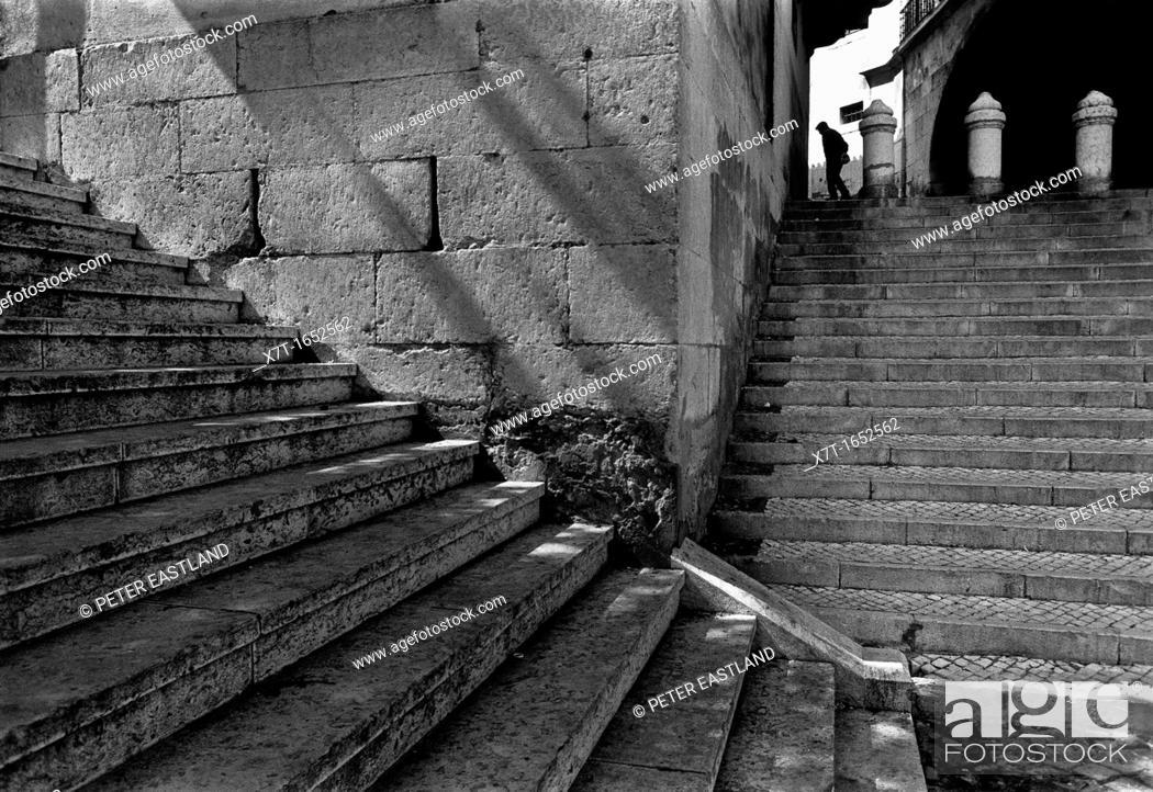 Stock Photo: Street scene in the Alfama district of Lisbon, Portugal.