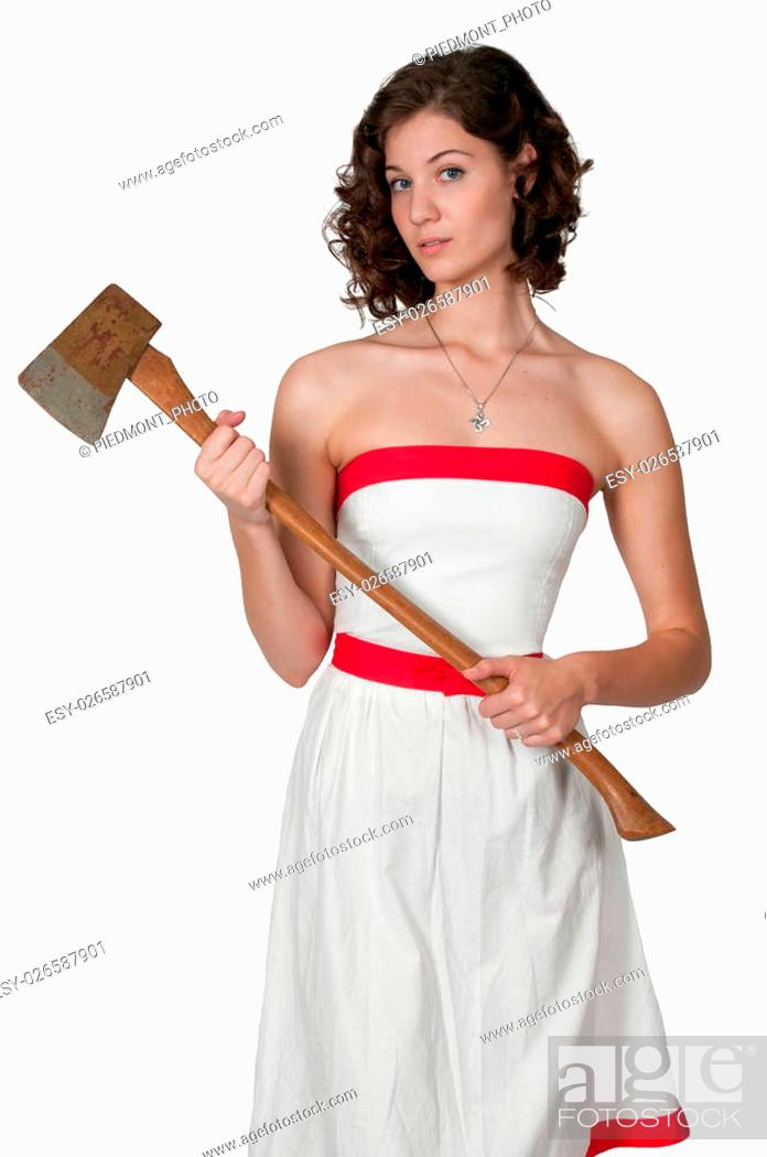 Beautiful possessed woman in a trance holding an axe, Stock Photo