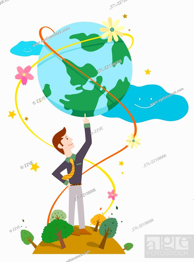 Stock Photo: Holding the Earth in a man.