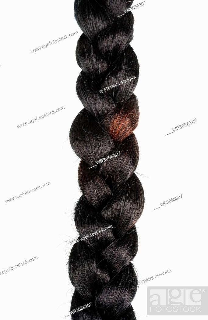 Stock Photo: Braid of Artificial Hair Isolated on White Background.