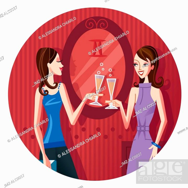 Stock Photo: Two Gemini women having a champagne toast.