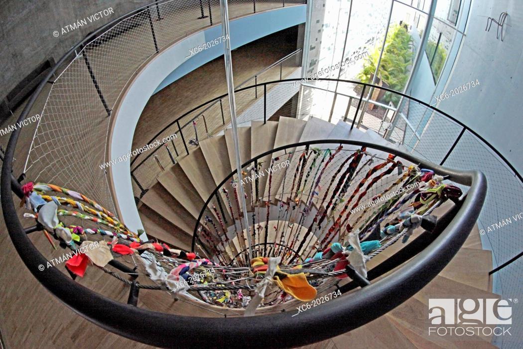 Stock Photo: fisheye view of TEA Museum stairway. Santa Cruz de Tenerife city center . Spain.