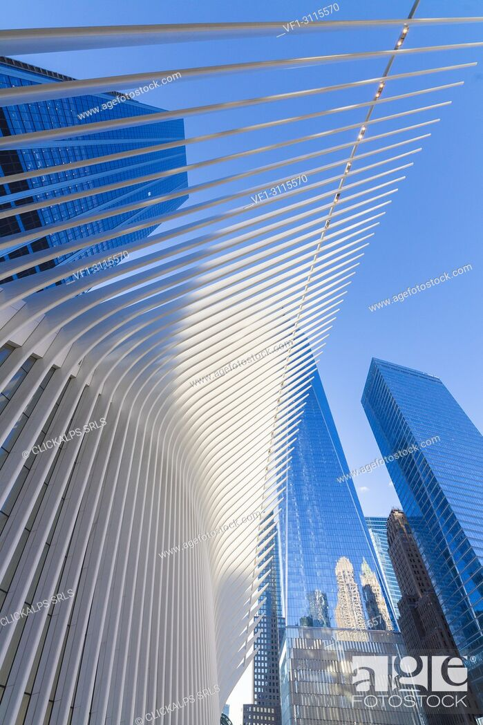 Stock Photo: The Oculus building by Santiago Calatrava, One World Trade Center, Lower Manhattan, New York City, USA.