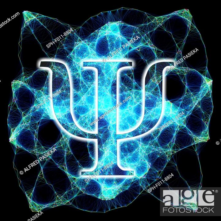 Imagen: Computer artwork of the greek letter psi and a Lissajous figure in the background. The letter psi is commonly used in physics to represent wave functions in.